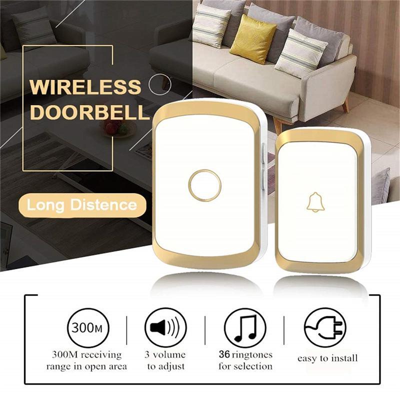 Smart Home Security Wireless Doorbell 300M Range Exchange Digital Music Remote Control Waterproof Doorbell