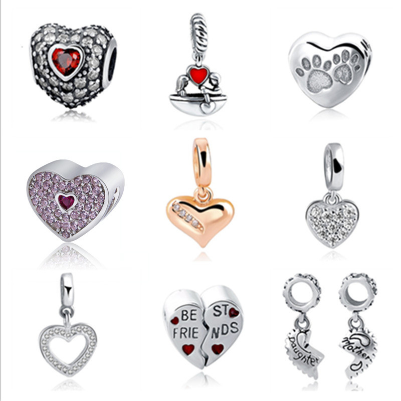Fit Authentic Pandora Charms silver 925 Original Antique Love Hearts Zircon Shape Bracelet Beads DIY Jewelry Making For Gifts