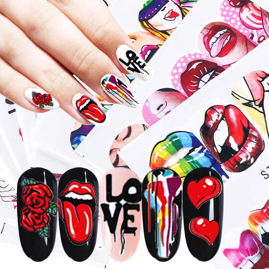 1 Stuks Sexy Rode Lippen Stickers Voor Nagels Lijm Sliders Cool Lady Stickers Voor Manicure Cartoon Rose Diy Decor Tip LESTZ756-763-1