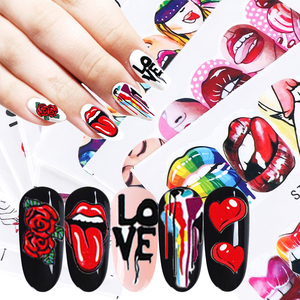 1pcs Sexy Red Lips Stickers For Nails Adhesive Sliders Cool Lady Stickers For Manicure Cartoon Rose DIY Decor Tip LESTZ756-763-1