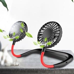 Mini Portable USB Fan 360 Degree Adjustable Air Cooler Hanging Neck Fans Rechargeable Office Desktop Dual Electric Fan