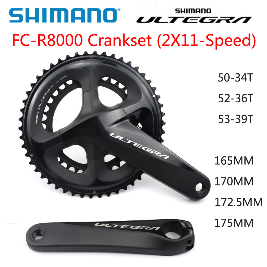 <font><b>SHIMANO</b></font> <font><b>ULTEGRA</b></font> FC <font><b>R8000</b></font> <font><b>Crankset</b></font> Optional BBR60 HOLLOWTECH II <font><b>CRANKSET</b></font> 2x11Speed 50-34T 52-36T 53-39T 165MM 170MM 172.5MM 175MM image