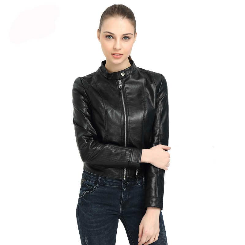 Fitaylor Baru Wanita Faux Kulit Jaket Biker Mantel Musim Semi Musim Gugur Hitam Ritsleting Tahan Dr O Leher Slim Motor Pu Jaket Kulit