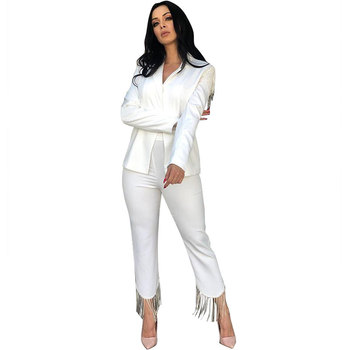 Womens Fashion Solid Color Tassels Decor Long Sleeve Blazer & Pants
