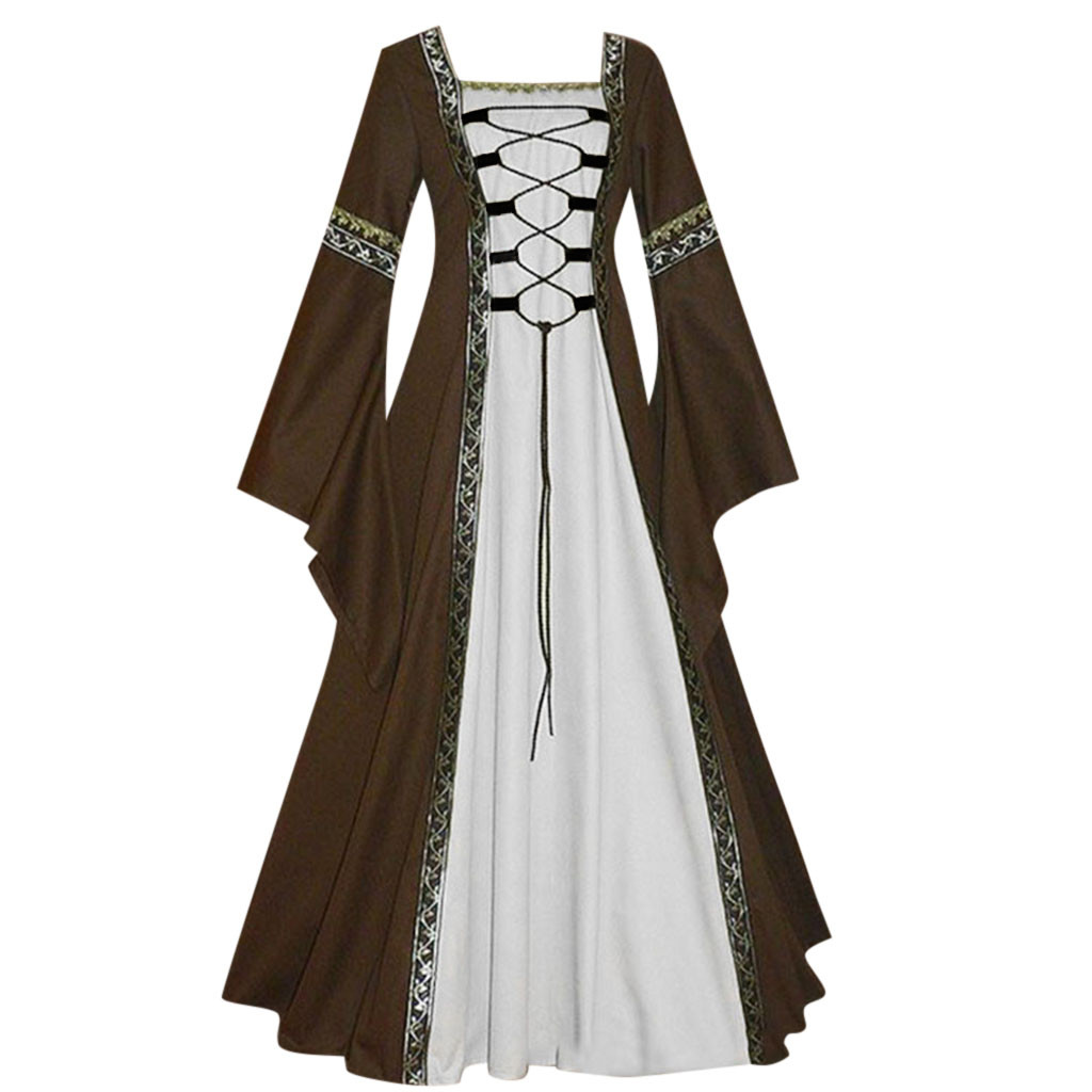 Maxi Ruffled Dresses Women's Vintage Celtic Medieval Floor Length Renaissance Gothic Cosplay Dress Ladies Elegant Midi Dress 184
