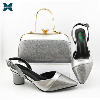 2019 Winter Top Selling Lady Shoes And Purse Set Italian design Style Sandals Shoes And Bag For Fashion Party in Silver Color