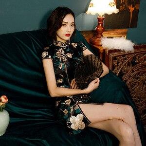 Image 3 - مدين خمر الأسود شيونغسام اللباس امرأة التقليدية الصينية فساتين الكلاسيكية المائل الشق زي الصيف حزب Vestido