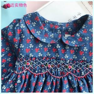 Image 2 - New Spring Autumn Kids Floral Printed Peter Pan Collar Handmade Smocking Belt Button Girls 3 7yrs Full sleeved Cotton Dresses