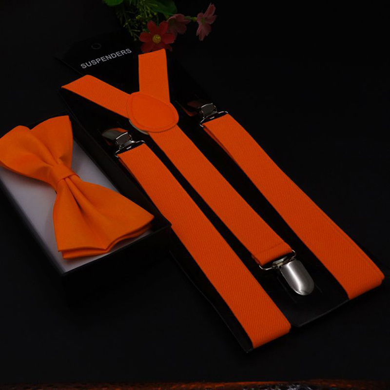 Adult 3 Clip-on Y Back Suspender Braces Bow Tie Set Unisex Elastic Suspenders Bowties Set For Women Men