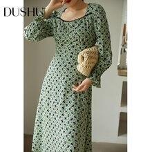 Женское шифоновое платье dushu винтажное зеленое с цветочным