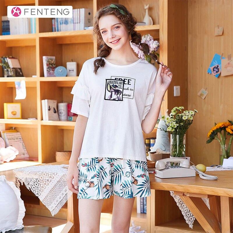 FENTENG Summer Pajamas-Sets Casual Printed Suit Women Short Sleeves 100% Cotton Homewear Female Sleepwear 2PCS P98021645