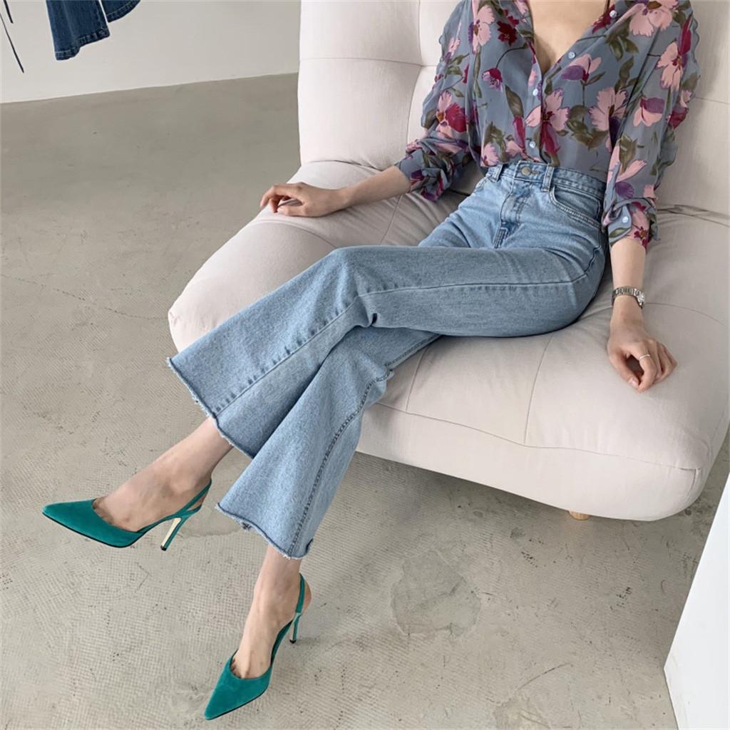 4# Women Chic Chiffon Long Puff Blousessleeve Printed V neck Top Ladies Button Shirts Korean Style Loungewear Elegant Blouses