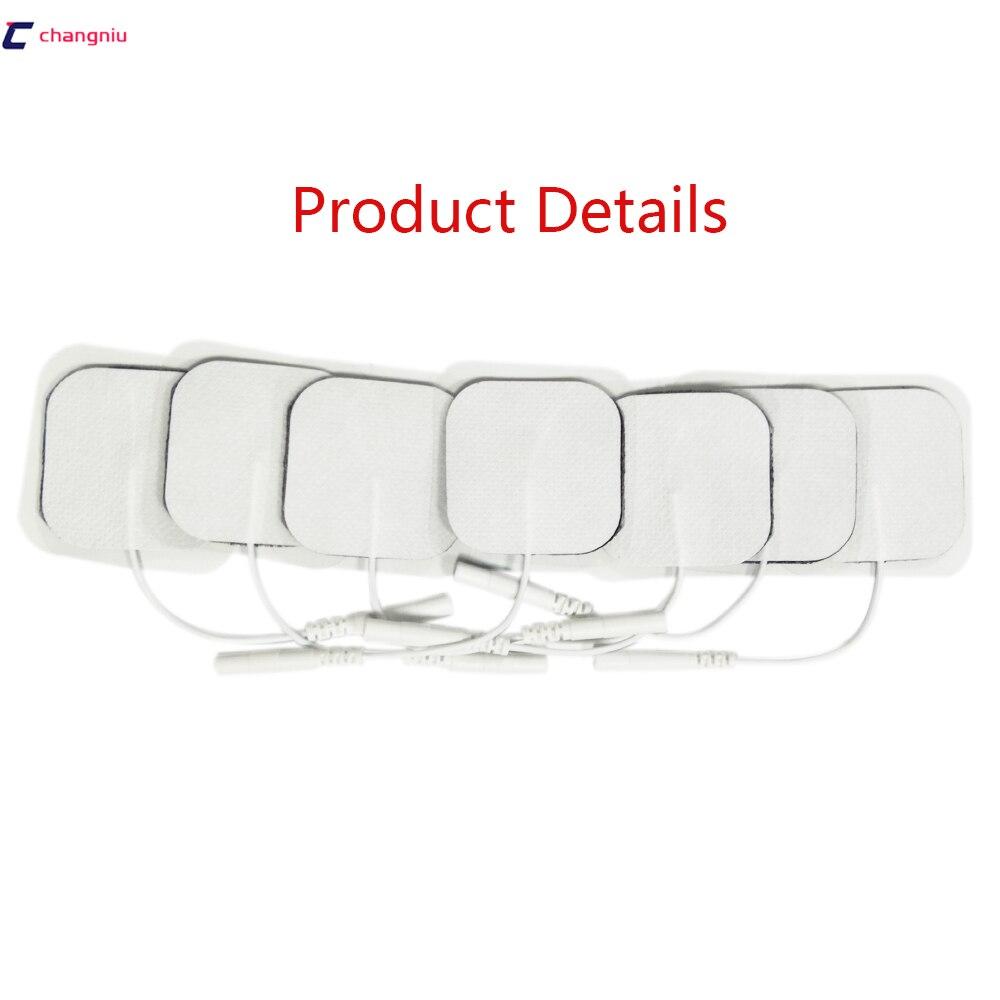 Freeshipping 100 pcs/lot Zehner-maschine Elektrode Pads mit kabel für volle körper massager pulse therapie maschine pad 4*4cm