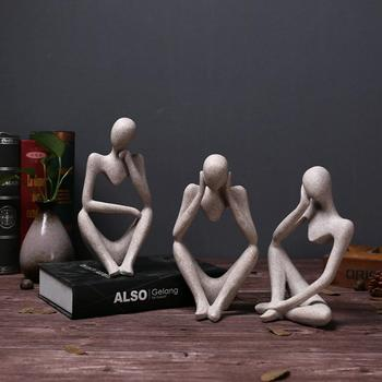 New Resin European Style Abstract Thinker Statue Sculpture Figurine Office Home Decor
