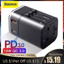 Baseus 18W Ricarica Rapida 3.0 Caricabatteria Da Viaggio USB Adapter con PD3.0 Veloce Caricatore Del Telefono Globale Adattatore di Conversione del Caricatore In Tutto Il Mondo
