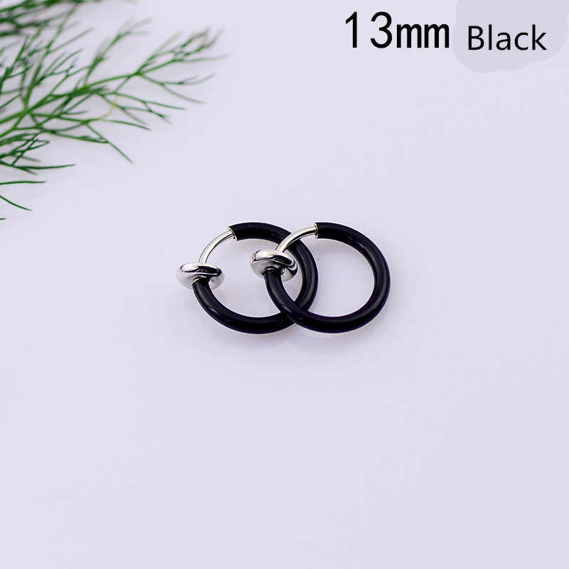 2 Pieces Body Jewelry Fake Nose Ring Goth Punk Lip Ear Nose Clip On Fake Septum Piercing Nose Ring Hoop Lip Hoop Rings Earrings