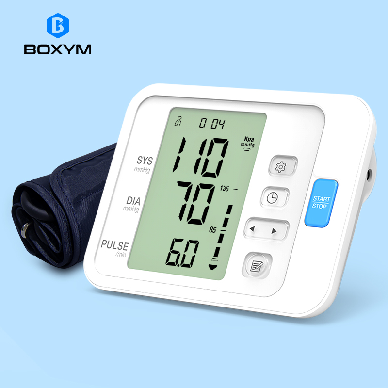 BOXYM Automatic Digital Arm Blood Pressure Monitor Sphygmomanometer LCD Upper BPM Cufffor Tonometer Pulsometer Health Care