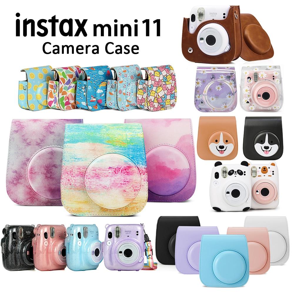 Cover-Shell Case Camera Shoulder-Strap Instant-Film Mini 11 Gray/white PU for Bag