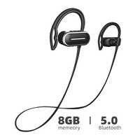 Arikasen 8GB reproductor MP3 bluetooth auricular IPX6 impermeable inalámbrico bluetooth MP3 auriculares con micrófono bluetooth auriculares
