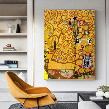 Lovers Kiss Oil Painting By Gustav Klimt Canvas Wall Art for Living Room Adele Bloch Portrait Paintings Pictures Home Decorative image