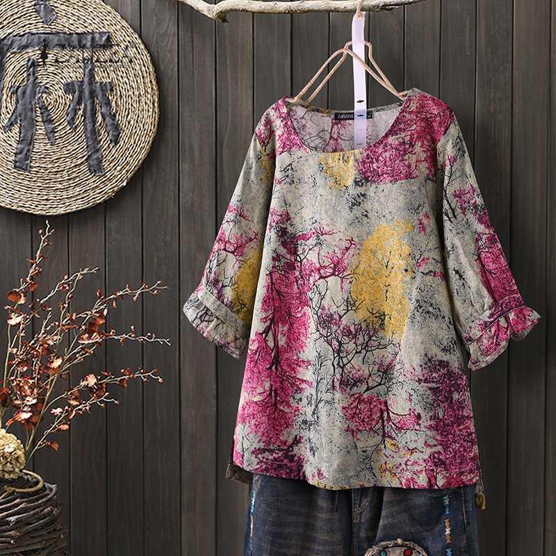 2020 ZANZEA Summer Tops Vintage Floral Printed Cotton Linen Blouse Women 3/4 Sleeve Casual Shirt Robe Femme Tunic Tops Blusas