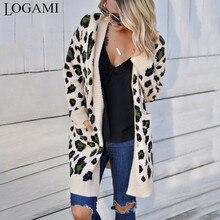 LOGAMI длинный леопардовый кардиган для женщин с длинным рукавом Осень Зима Свитера Мода женское длинное пальто