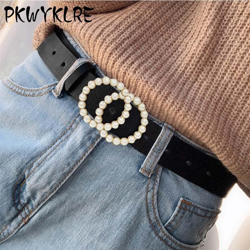 Ladies Belt Luxury Design Pearl Inlay High Quality Belt Famous Brand Fashion Wild Jeans Dress Waist Luxury Decoration Belt