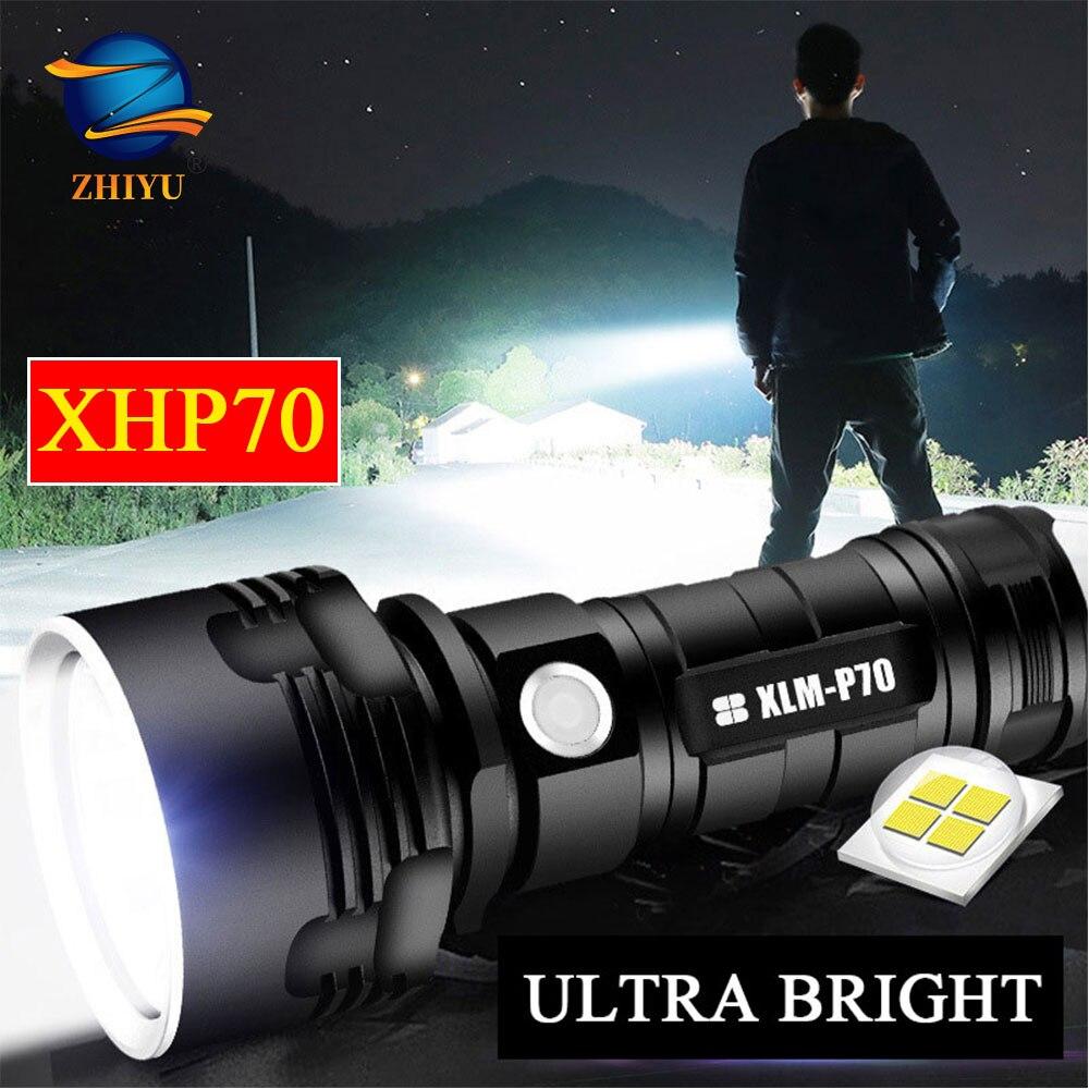 ZHIYU Высокая мощность XHP70 светодиодный светильник вспышки 26650 Супер яркие лампы 3 режима Водонепроницаемый USB Перезаряжаемый фонарь светильн...