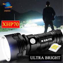 Zhiyu xhp70 led lanterna de alta potência 26650 super brilhante lâmpadas 3 modos à prova dwaterproof água usb recarregável luz da tocha lanterna acampamento