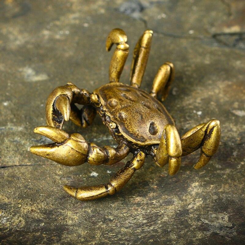 Скульптура маленького краба из чистой меди, аксессуары, ретро бронзовые миниатюрные фигурки животных, настольные украшения