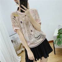 New women s clothing Round neck printed silk short sleeve T shirt top f8909