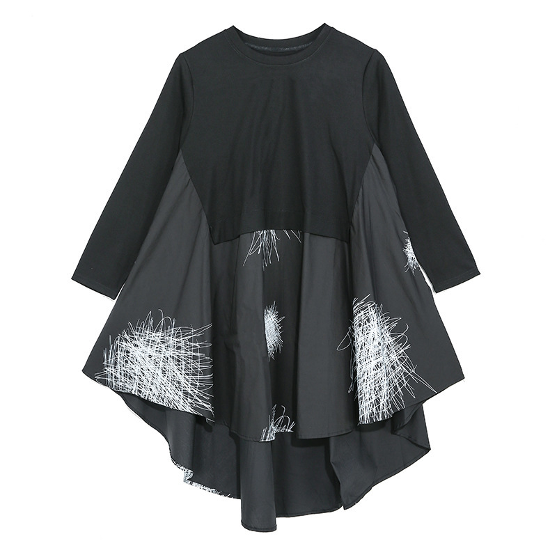 LANMREM Woman Clothes 2020 Spring New Split Joint O-neck Dress Personality Loose Fashion Irregular Printting Long Sleeve YH772
