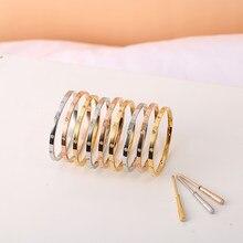 Parafuso pulseiras femininas rosa ouro pulseiras não & 4 & 10 pedras 3.65mm pulseiras de aço inoxidável moda jóias sem caixa