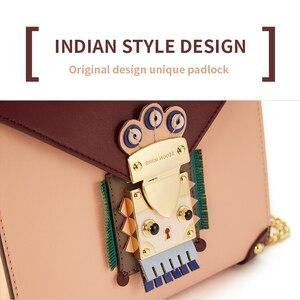 Image 2 - EMINI HOUSE indyjski styl kłódka torba na łańcuszku nisza Crossbody torby dla kobiet torba na ramię Split skóra kobiety Messenger torby