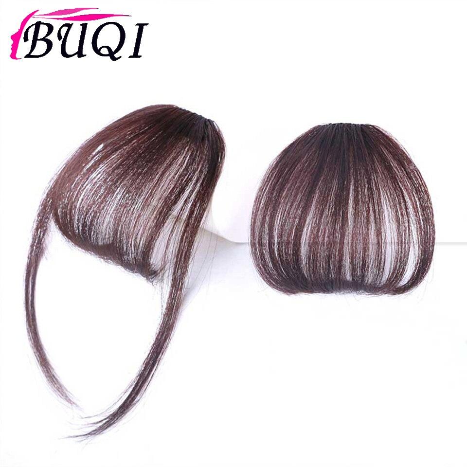 Синтетическая челка BUQI, прямые удлинители волос с зажимом, воздушная челка, передняя челка, черные, коричневые, золотые аксессуары для волос...