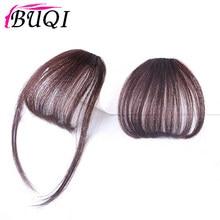 Buqi sintético franja grampo em linha reta em extensões de cabelo franja de ar franja frente franja preto marrom ouro acessórios para o cabelo feminino