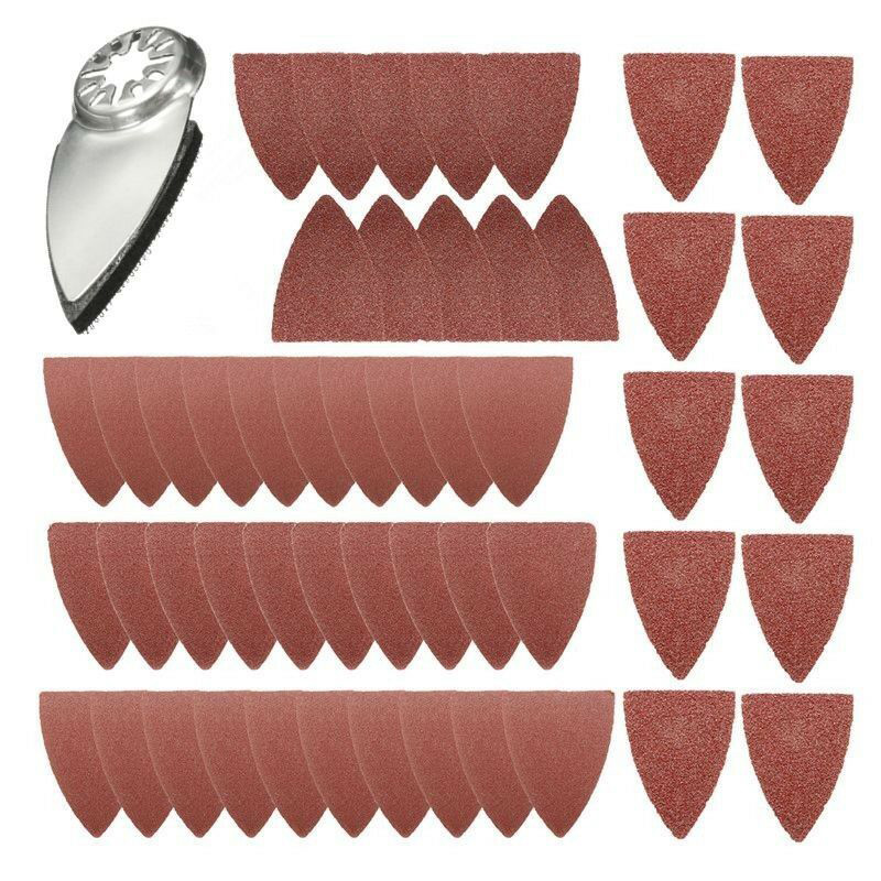 51PCS Finger Sanding Sheets Paper Pads Sand Disc Kit For Oscillating Multitools Saw Blades Parts Triangular Sandpaper Power Tool