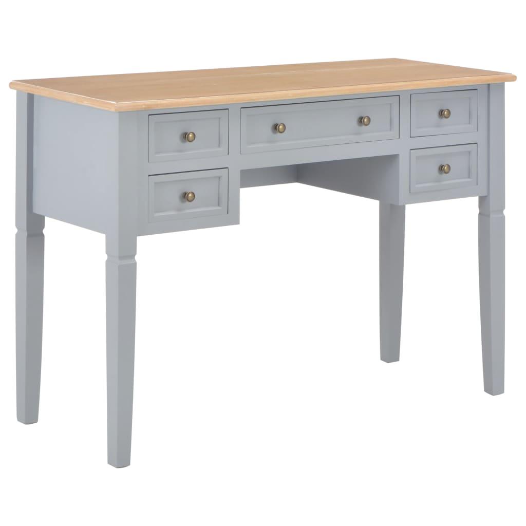 VidaXL Writing Desk Grey 109.5x45x77.5 Cm Wood