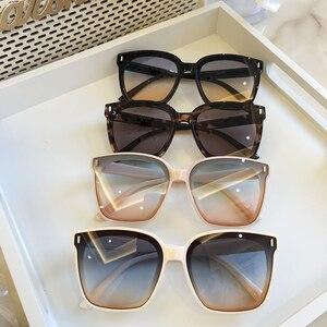 Image 2 - 2021 חדש כיכר גדול משקפי שמש נשים יוקרה מותגי משקפי שמש גברים בציר שחור שמש משקפיים גוונים בצבע Goggle UV400
