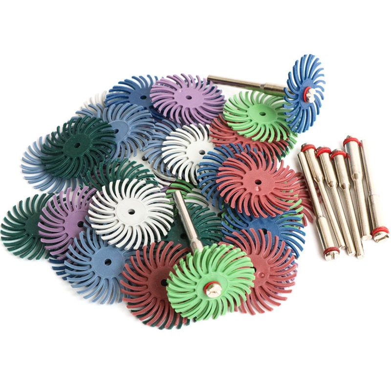 EASY-64Pcs 1 Inch Radial Bristle Disc Kit Abrasive Brush 3 And 2.35Mm Shank Detail Polishing Wheel For Rotary Tool Accessories