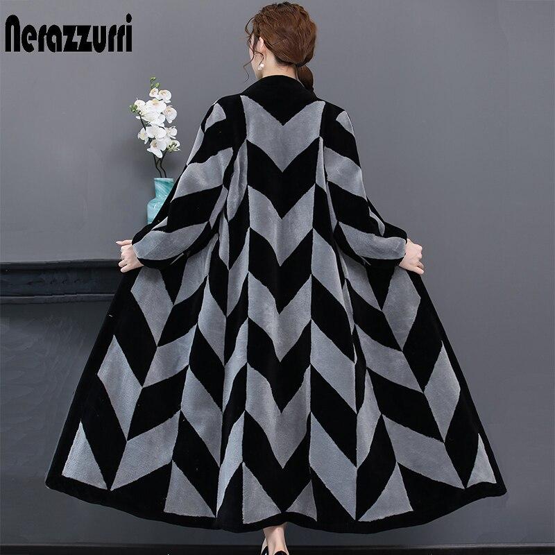 Nerazzurri Winter Real Fur Coat Women Color Block Extra Long V Neck Plus Size Natural Sheared Lamb Fur Overcoat 4xl 5xl 6xl 7xl