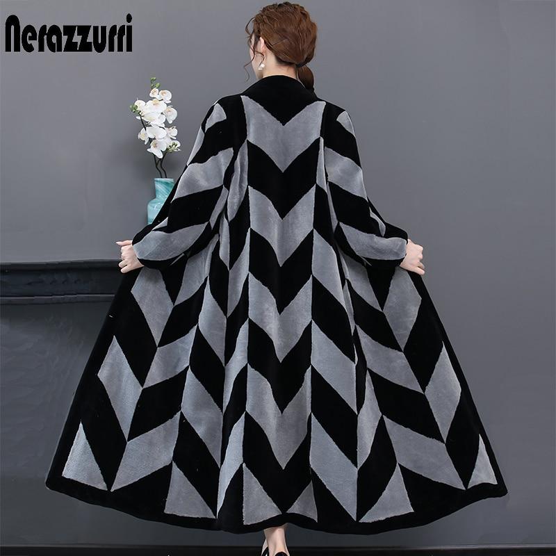 Nerazzurri inverno casaco de pele real feminino bloco cor extra longo decote em v plus size natural sheared pele de cordeiro casaco 4xl 5xl 6xl 7xl
