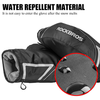 ROCKBROS Winter Warm Cycling Glove Men Reflective Thicken Handlebar Mittens MTB Road Bike Thermal Fleece Bar Gloves For Bicycle