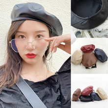 New Winter Beret Cap Fashion Women Casual PU Leather Beret H