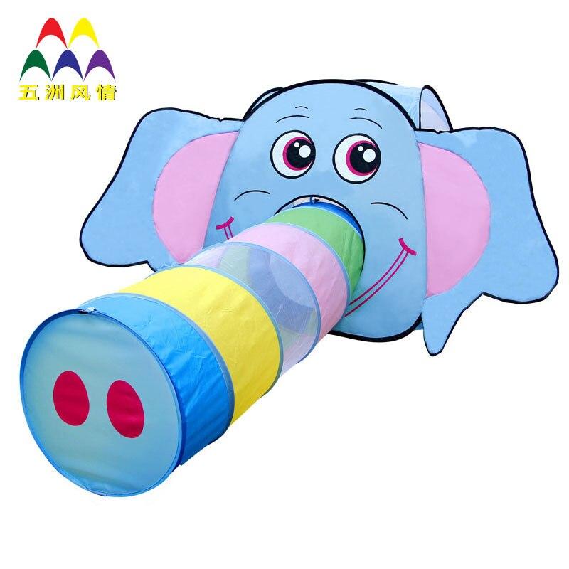 Nouveau Style enfants dessin animé tente maternelle jeu maison éléphant Tunnel tente enfants tente pliable