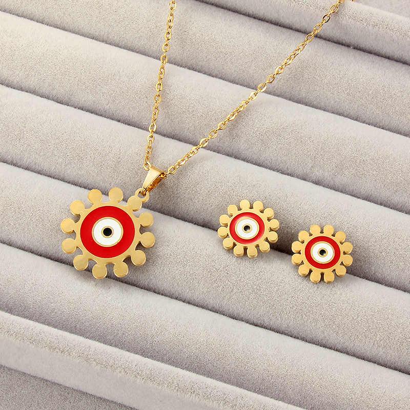 Лидер продаж, ювелирные наборы, круглая подвеска на золотой цепочке, ожерелье, женские серьги-гвоздики, свадебные украшения, подарок