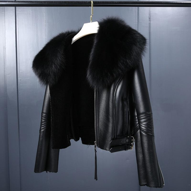 Women Thickening Fur Collar Warm Coats Turn-Down Collar Winter Motorcycle Faux Leather Jackets Long Sleeve Faux Fur Jackets