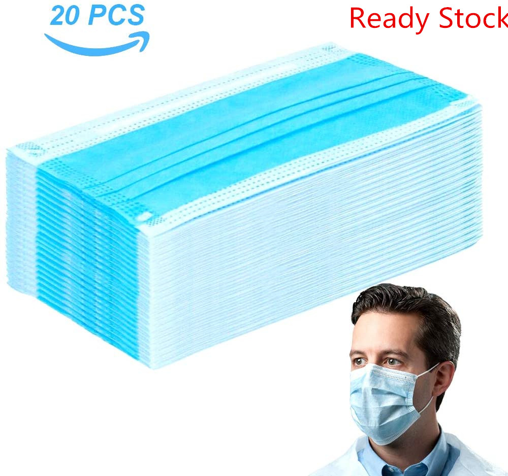 In Stock Now 20 Pcs/Bag 3 Layer Non-woven Dust Mask Thickened Disposable Mouth Mask