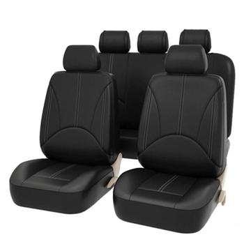 VODOOL Four Seasons Universal PU Leather Car Seat Covers Set Breathable Automobile Seat Protector Auto Interior Styling Dropship image