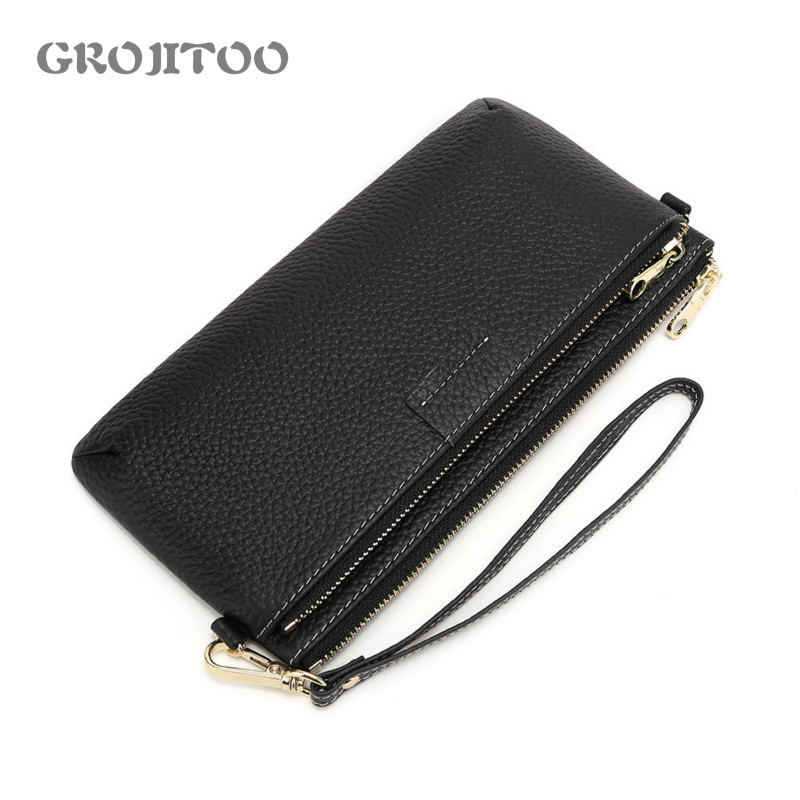 GROJITOO New Women's Wallet Genuine Leather Long Zipper Purse  Large Capacity Clutch Bag Fashionable Women's Crossbody Pocket